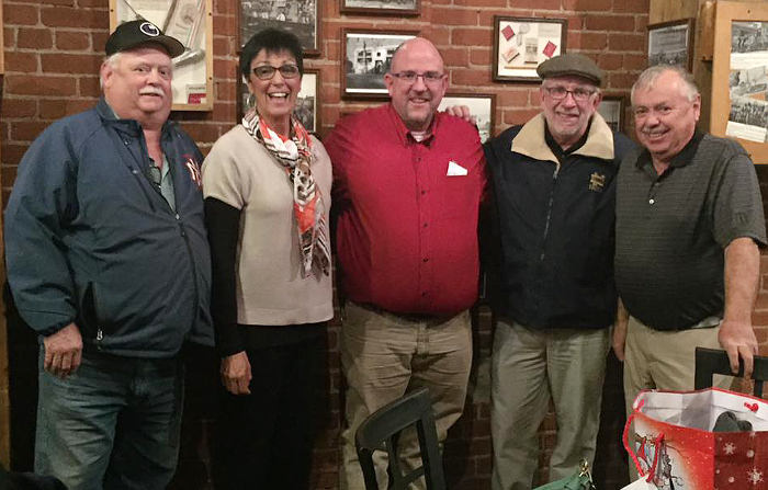 From left, Don Davis, Dee Scalabrin, Keith Miller, Ned Ellingwood and Bob Scalabrin pose for a photo Saturday night. (Courtesy photo)